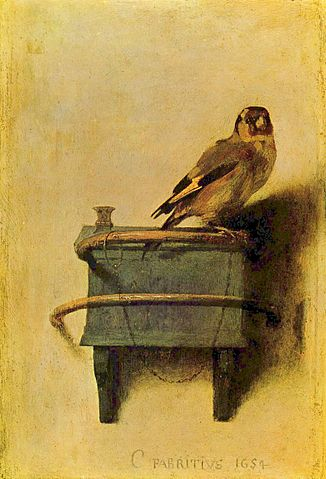 Carel Fabritius, The Goldfinch, 1654, The Mauritshuis, The Hague, Netherlands, [Public Domain] via Wikimedia Commons