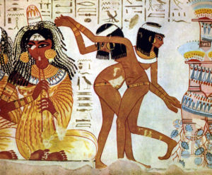 Musicians and Dancers on Fresco, Tomb of Nebamun, c. 14th century BC, British Museum, [Public Domain] via Wikimedia Commons